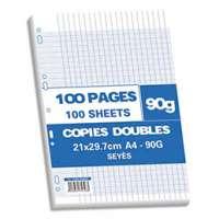 NEUTRE Sachet de 100 pages copies doubles A4 grands carreaux 90g perfor�es - 415858
