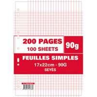 NEUTRE Sachet de 100 pages feuillets mobiles 17x22 grands carreaux 90g perfor�es - 415866