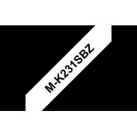 Brother - MK231SBZ - Ruban plastique de 12 mm noir sur blanc , non lamin�,  4 m.