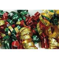 Clairefontaine - 613500 - CLAIREFONTAINE Sachet de 3 bandes froufrous (chaque bande = 10 rubans fris�s). Coloris rouge, vert et or